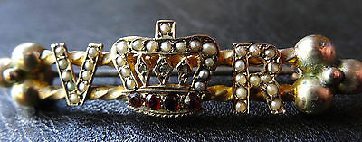 antique Victorian SILVER diamond garnet & seed pearl crown brooch c pin -C209