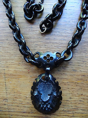 antique Victorian Whitby Jet carved chain grape vine pendant necklace -D131