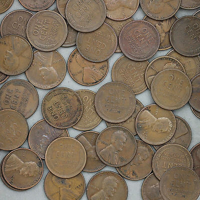 1928 D Lincoln Wheat Cent Roll 50 Circulated Pennies US Coins