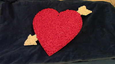 Vintage Valentines Day Heart & Arrow Melted Popcorn Decoration Very Clean #1