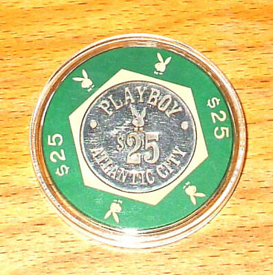 Vintage $25 Playboy Casino Chip - Atlantic City - Bud Jones - Cream & Green