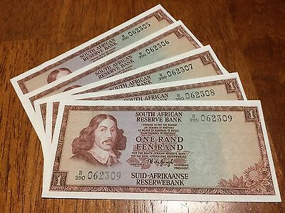 Lot Of 5 Pcs South Africa 1 Rand ( 1967- 1975) Unc Banknote