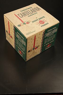 Shiny Brite Christmas Candelabra Centerpiece in Original Box w/11 RED Ornaments