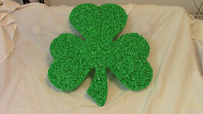 "Vintage Melted Popcorn Shamrock St. Patrick's Decoration  Clean 14"" By 16"" #2"