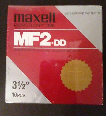 "Maxell MF2-DD Double Sided/Double Density/ Double Tracks 3 1/2""Floppy Disk 10Pk"