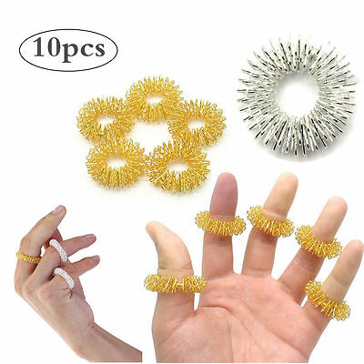 PIXNOR 10pcs Finger Massage Circulation Rings Acupressure Sujok Pain Therapy