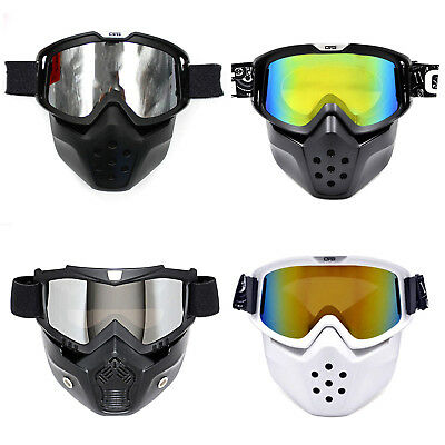 Motorcycle Bike Riding Helmet Anti-fog Face Mask Shield Goggles Detachable AU