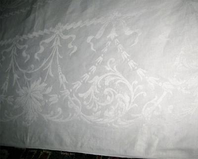 """antique NEOCLASSICAL Linen DAMASK TABLECLOTH 88""""x70"""" Swags Ribbons Acanthus"""