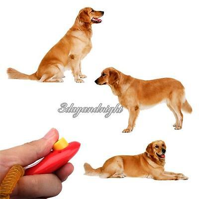1x Dog Pet Click Clicker Training Obedience Agility Trainer Aid Wrist Strap TDER