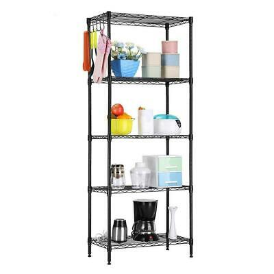 "60""x22""x12"" Heavy Duty 5 Layer Wire Shelving Rack Adjustable Shelf Storage Black"