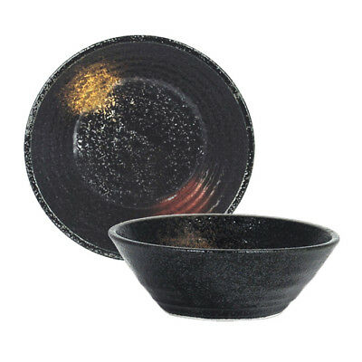 "Japanese Rice Soup Cereal Bowl 5.25""D Ceramic Black w/ Gold & Red Made in Japan"
