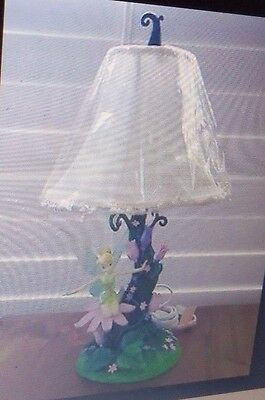 Disney Lamp Tinkerbell Garden Flowers Boudoir Lamp- Resin Cloth shade NIB