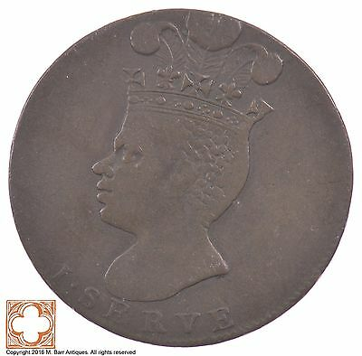 1788 Barbados Copper One Penny – Large Pineapple *5352