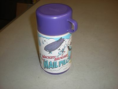 Vintage Aladdin Disney Mickey Mouse Mail Pilot Thermos Bottle - Purple Cup