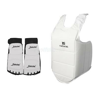 1 Pair Taekwondo Foot Pads Protector + MMA Sparring Chest Guard Martial Arts