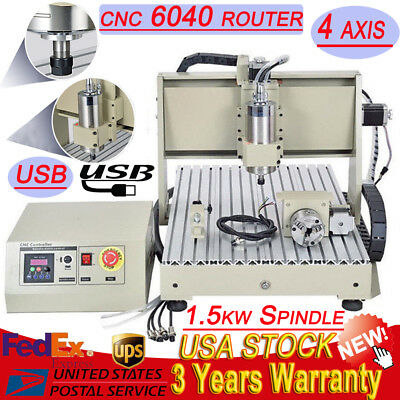 USB 4 AXIS 1500W 6040 CNC Router Engraver 3D Engraving Drilling Milling Machine