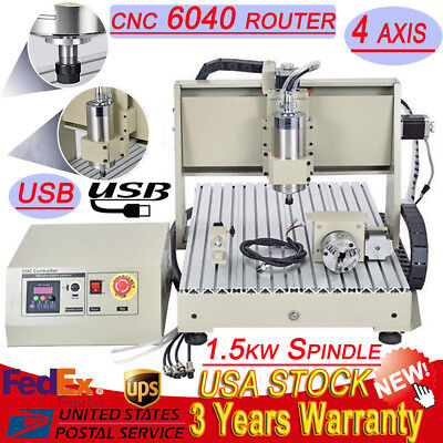 USB ! 4 Axis 6040 1500W Spindle CNC Router Engraver Engraving Milling Machine