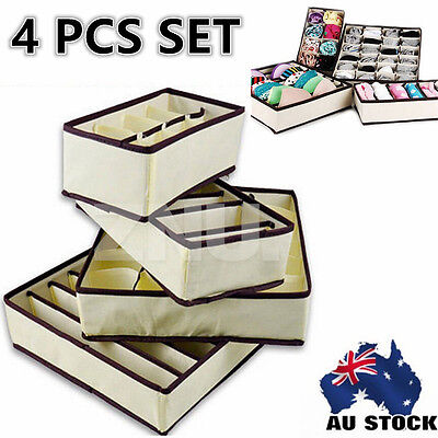 4X/Set Foldable Ties Drawer Dividers Storage Portable Boxes Closet Organizers
