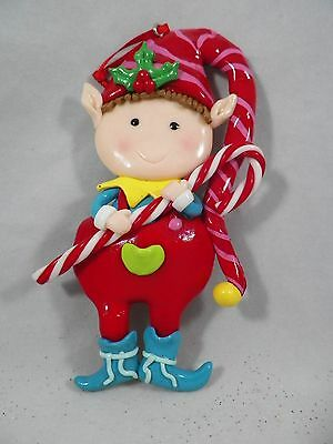 Boy Elf in Red Jumper with Candy Cane Christmas Tree Ornament new holiday