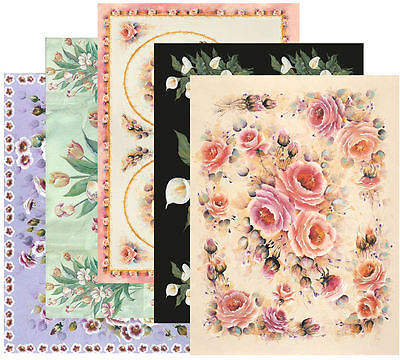 MIXED FLOWERS DECOUPAGE PAPER, Pack of 10, Quality 100gsm