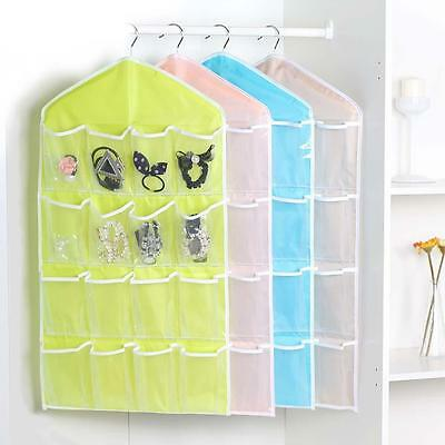 Clear Door Hanging Bag Shoe Rack Hanger Storage 16-Pocket Tidy Organizer Case sd