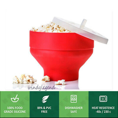 Microwave Popcorn Maker Food Silicone Collapsible Poppers Bowl with Lid BPA Free