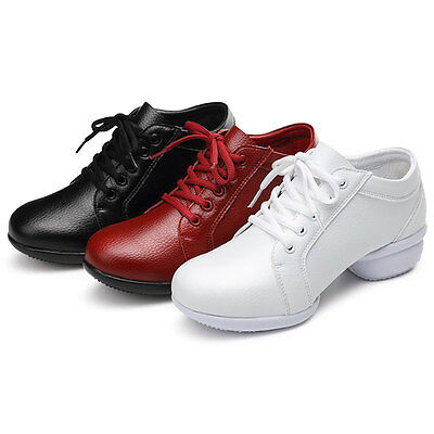 Women Modern Jazz Hip Hop Dance Sneakers Soft Cow Leather Dancing Fitness Shoes