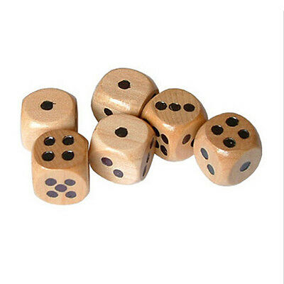 16mm Lot of 12 Wooden Dice Board Games Bar Party Toy (set, d6, pips, wood) New