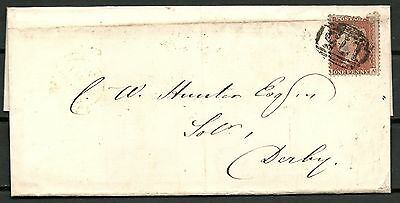 GREAT BRITAIN 1856 1d RED COVER, CHEADLE TO DERBY -CAG 201015