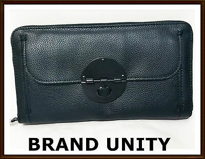 Mimco Leather Large Turnlock Travel Wallet Clutch Purse BNWT RRP $249 Black