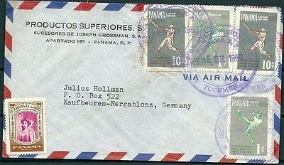 Panama 1960 Cover To Germany, Nice Stamps And Postmarks -Cag 300914
