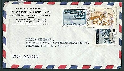 El Salvador Old Cover To Germany, Nice Stamps And Postmarks -Cag 300914
