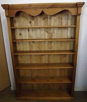 Large Solid Pine Open Bookcase With Five Shelves In The Antique Farmhouse Style