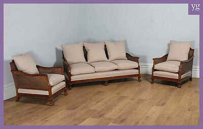 Antique English George V Three Piece Mahogany & Cane Bergere Suite Couch Settee