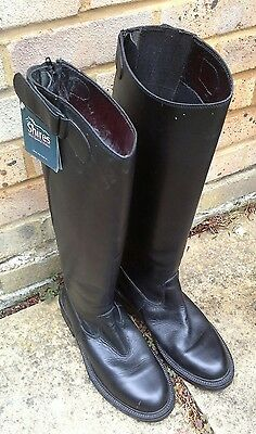 Shires Black Long Leather Riding Boots Size 9 (43) With Zip and Velcro Strap