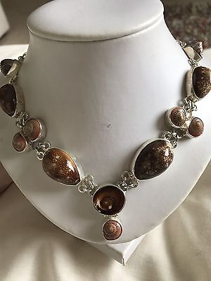 Stunning Natural Shell Necklace Sterling Silver
