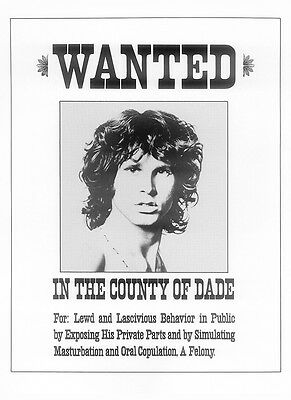 The Doors Repro Jim Morrison Wanted A4 Poster . Wanted In The County Of Dade