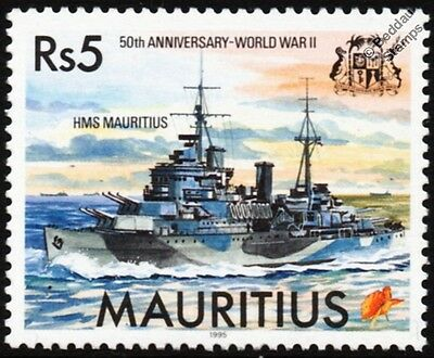 HMS MAURITIUS (C80) Crown Colony Class Light Cruiser WWII Warship Stamp