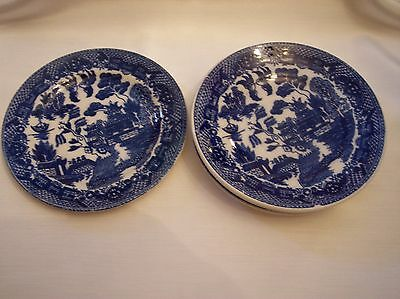 """Vintage Blue Willow 3 Saucer & 1, 6"""" plate"""