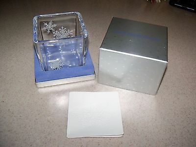 Vintage New 1984 Avon Austria 24% Crystal Holiday Winter Snowflake Candle Holder
