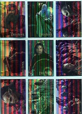 Lord Of The Rings FotR Complete Prismatic Foil Chase Card Set 1-10