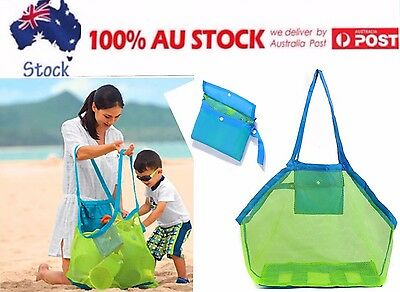 Sand Away Beach Mesh Shoulder Foldable Bag Convenient Carry Tote Toys Shells