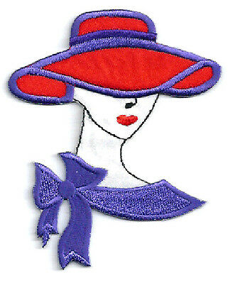 """STYLE H8-2 7//8/""""W 7.3cm RED HAT CHIC FASHION LADY IRON ON APPLIQUE PATCH"""
