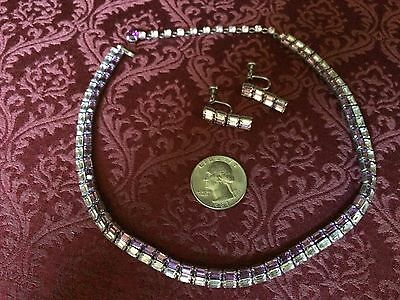 "vintage '50  SHERMAN art deco  crystal 16"" choker earrings necklace"