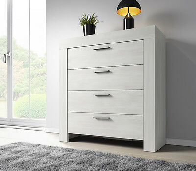 Chest of Drawers Rome 100 cm White Oak