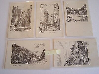 5 Vintage Postcards Guernsey Channel Islands Pen Drawings By H Sandwich