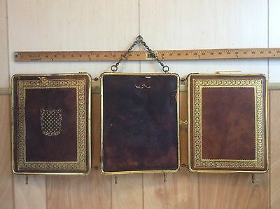Antique France Tri-Fold Beveled Mirror With Gold Gilt Knurling Decorate Leather