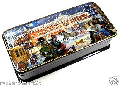 Old St.Petersburg Russische Lackmalerei Schatulle Russian lacquer box Lackdose