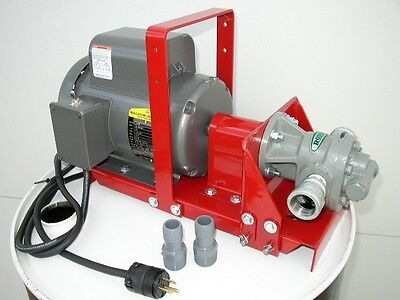 "New Gear Lube Oil Pump,3/4 HP,1"" Gear Head,16 GPM, for Bulk Oil, Waste Oil,110 V"