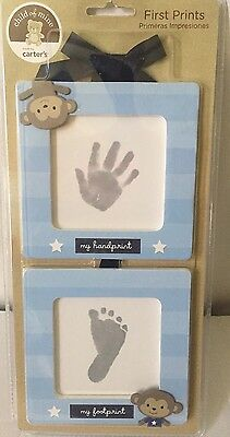 New Boy Carter's Baby's First Prints Kit Wall Hanging Frame Set Monkeys